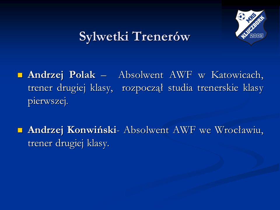 Sylwetki Trenerów Andrzej Polak – Absolwent AWF w Katowicach, trener drugiej klasy, rozpoczął studia trenerskie klasy pierwszej.