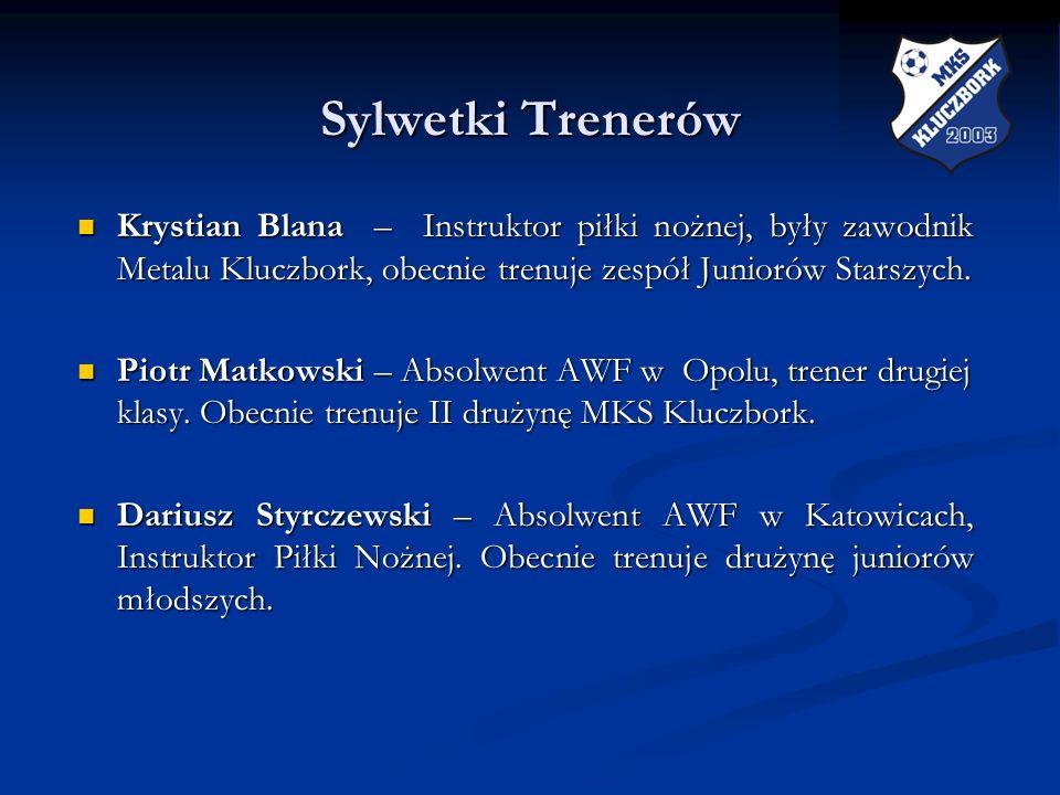 Sylwetki TrenerówKrystian Blana – Instruktor piłki nożnej, były zawodnik Metalu Kluczbork, obecnie trenuje zespół Juniorów Starszych.