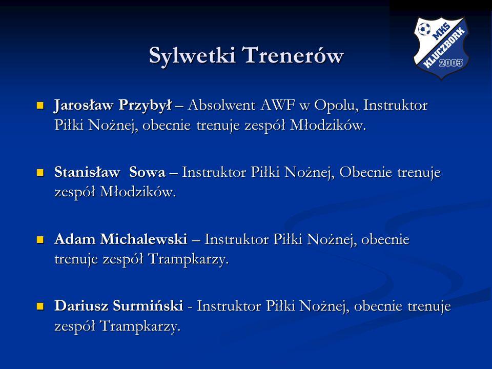Sylwetki TrenerówJarosław Przybył – Absolwent AWF w Opolu, Instruktor Piłki Nożnej, obecnie trenuje zespół Młodzików.