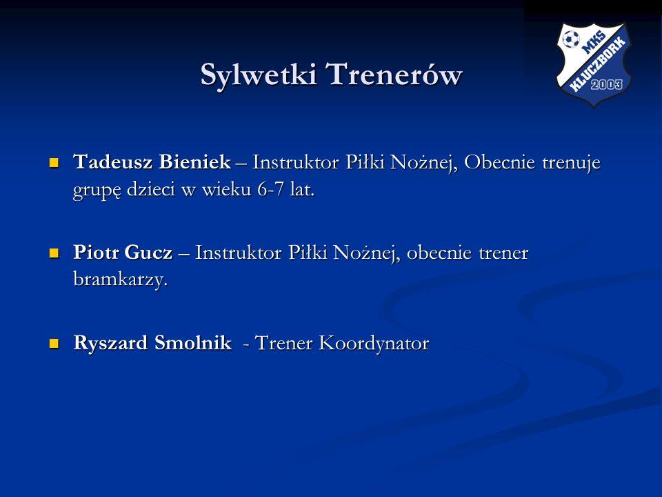 Sylwetki Trenerów Tadeusz Bieniek – Instruktor Piłki Nożnej, Obecnie trenuje grupę dzieci w wieku 6-7 lat.