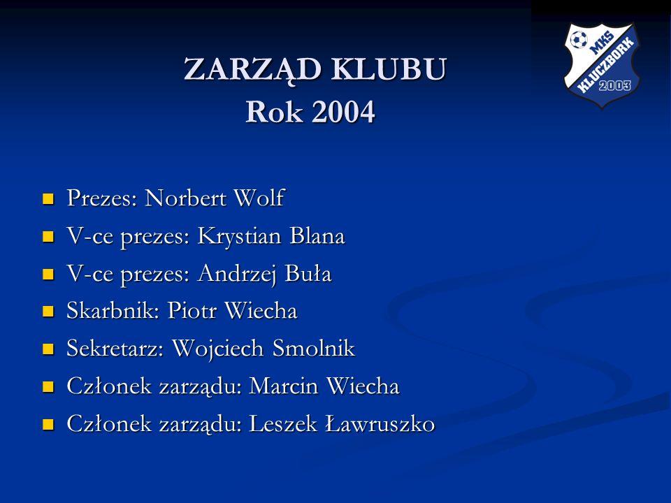 ZARZĄD KLUBU Rok 2004 Prezes: Norbert Wolf V-ce prezes: Krystian Blana