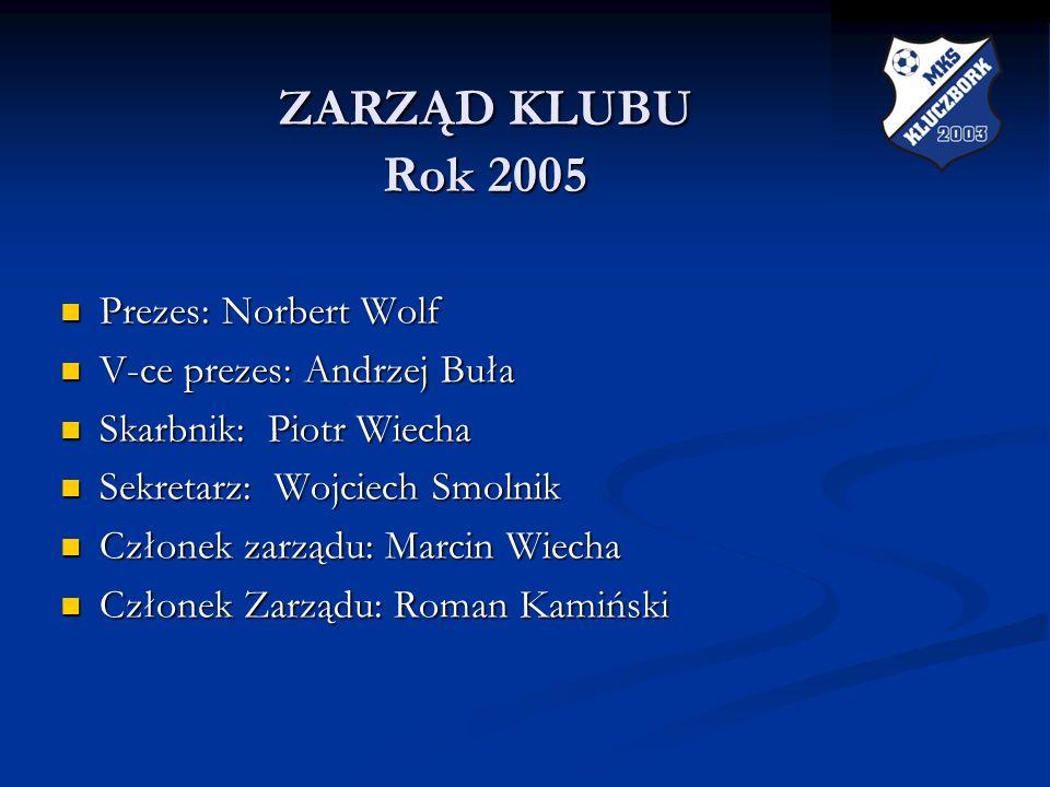 ZARZĄD KLUBU Rok 2005 Prezes: Norbert Wolf V-ce prezes: Andrzej Buła