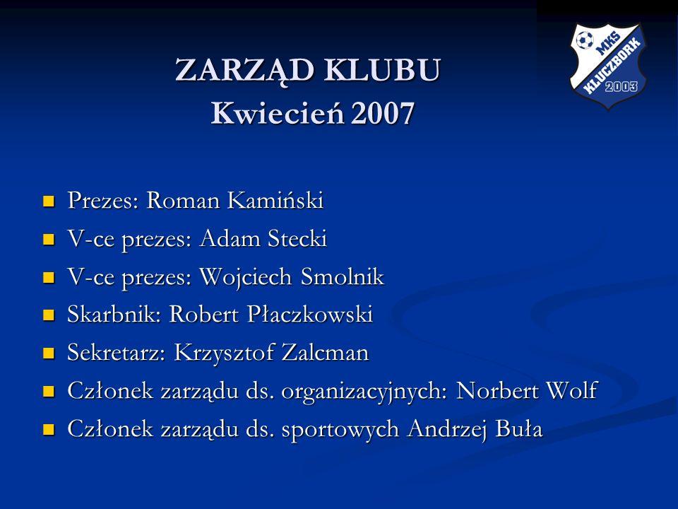 ZARZĄD KLUBU Kwiecień 2007 Prezes: Roman Kamiński