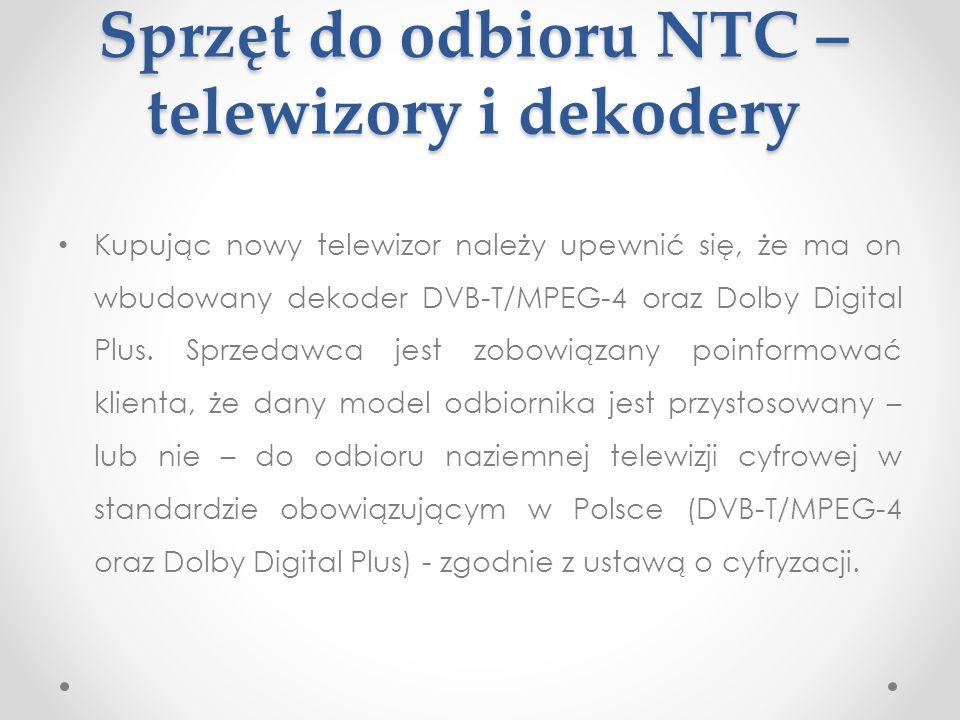 Sprzęt do odbioru NTC – telewizory i dekodery