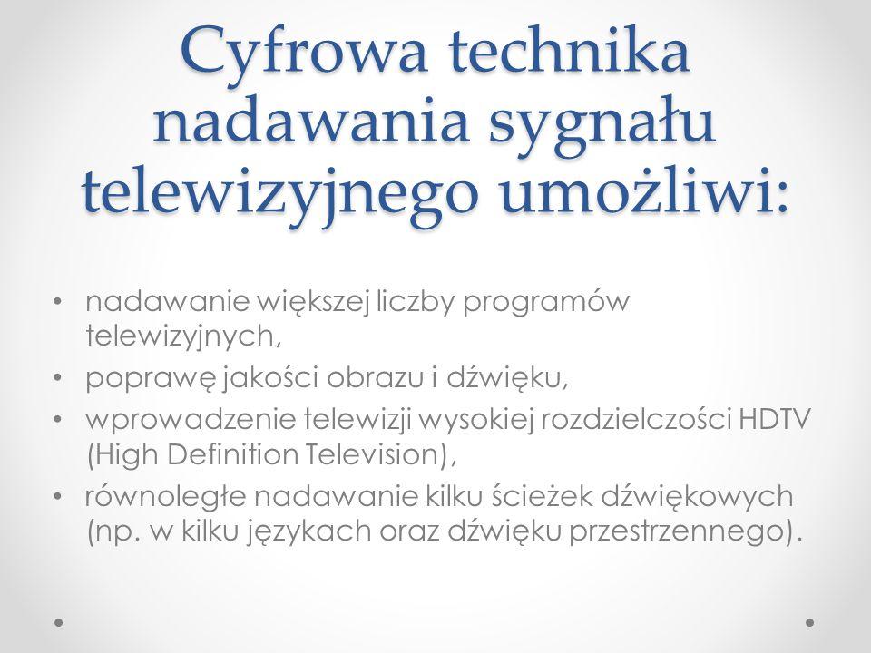 Cyfrowa technika nadawania sygnału telewizyjnego umożliwi: