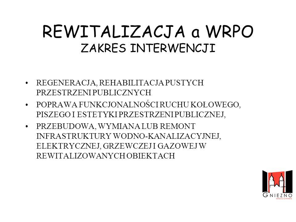 REWITALIZACJA a WRPO ZAKRES INTERWENCJI
