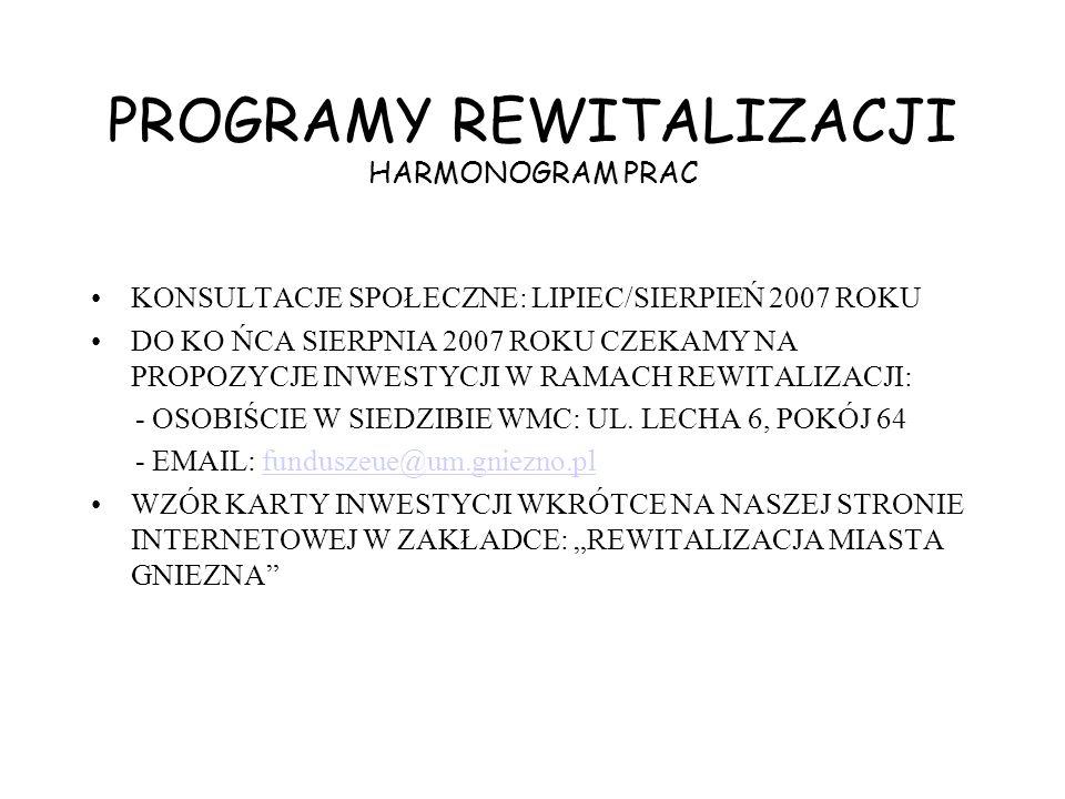 PROGRAMY REWITALIZACJI HARMONOGRAM PRAC