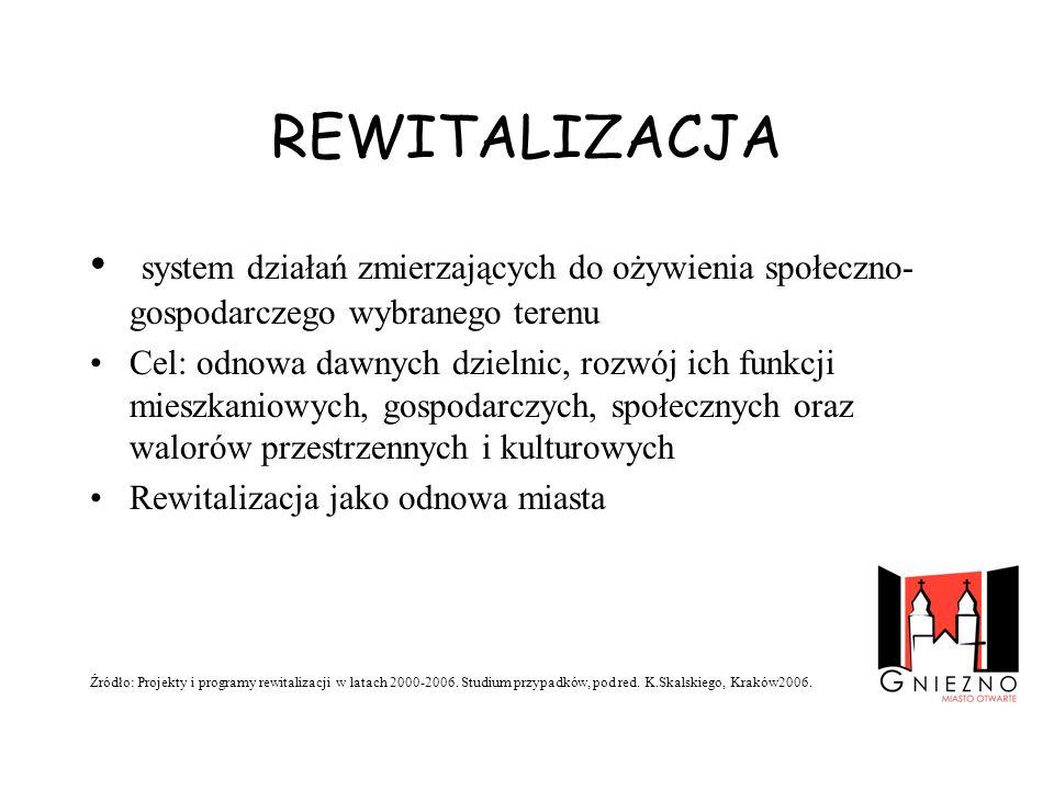 REWITALIZACJAsystem działań zmierzających do ożywienia społeczno-gospodarczego wybranego terenu.