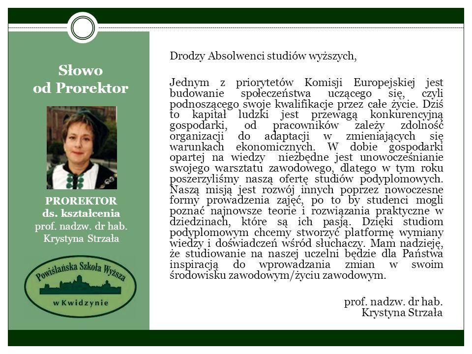 PROREKTOR ds. kształcenia prof. nadzw. dr hab. Krystyna Strzała