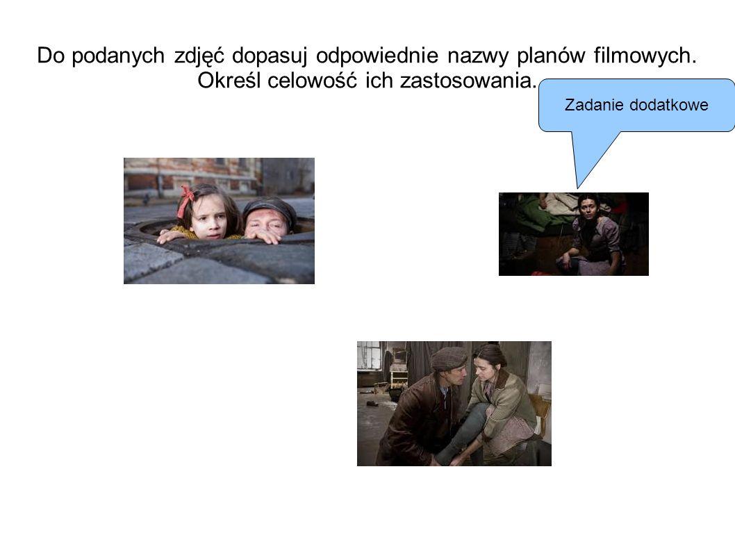 Do podanych zdjęć dopasuj odpowiednie nazwy planów filmowych