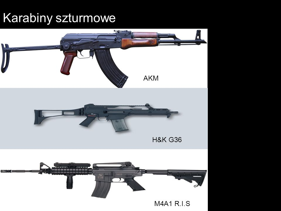 Karabiny szturmowe AKM H&K G36 M4A1 R.I.S