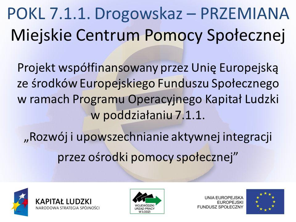 POKL 7.1.1. Drogowskaz – PRZEMIANA Miejskie Centrum Pomocy Społecznej