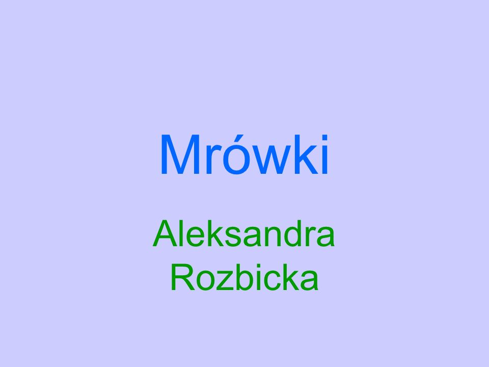 Mrówki Aleksandra Rozbicka