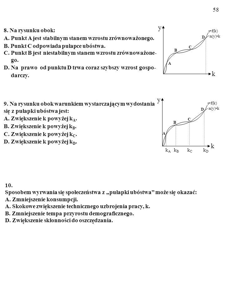 8. Na rysunku obok: A. Punkt A jest stabilnym stanem wzrostu zrównoważonego. B. Punkt C odpowiada pułapce ubóstwa.