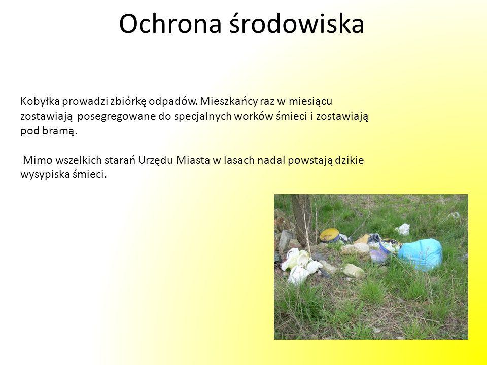 Ochrona środowiskaKobyłka prowadzi zbiórkę odpadów. Mieszkańcy raz w miesiącu. zostawiają posegregowane do specjalnych worków śmieci i zostawiają.