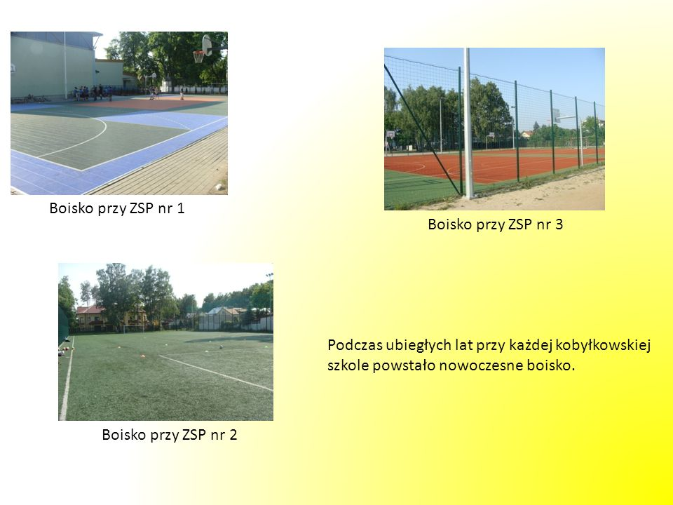 Boisko przy ZSP nr 1Boisko przy ZSP nr 3. Podczas ubiegłych lat przy każdej kobyłkowskiej. szkole powstało nowoczesne boisko.