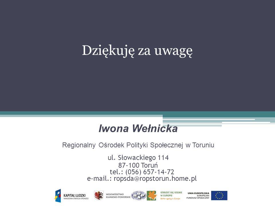Dziękuję za uwagę Iwona Wełnicka