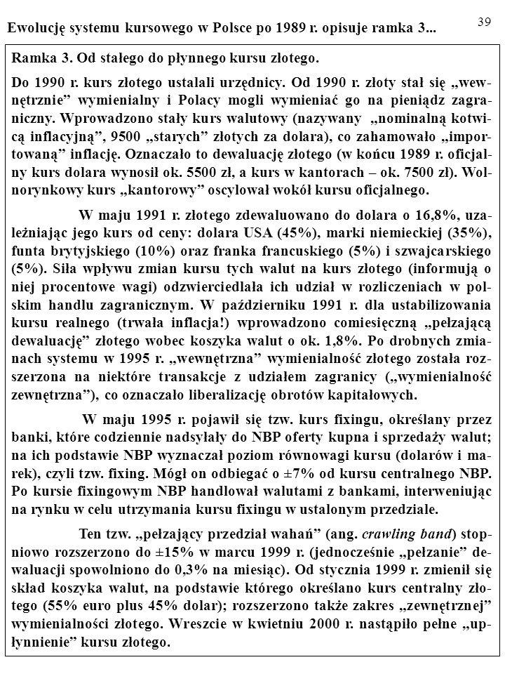 Ewolucję systemu kursowego w Polsce po 1989 r. opisuje ramka 3...