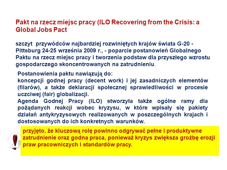 Pakt na rzecz miejsc pracy (ILO Recovering from the Crisis: a Global Jobs Pact