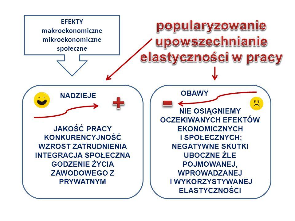 - + popularyzowanie upowszechnianie elastyczności w pracy EFEKTY