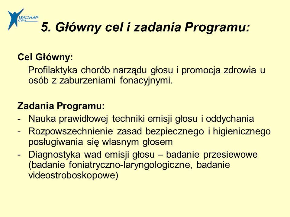 5. Główny cel i zadania Programu: