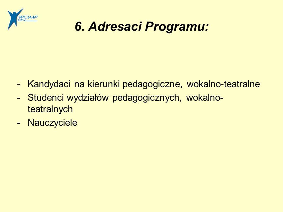 6. Adresaci Programu: Kandydaci na kierunki pedagogiczne, wokalno-teatralne. Studenci wydziałów pedagogicznych, wokalno-teatralnych.