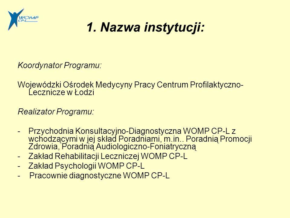 1. Nazwa instytucji: Koordynator Programu: