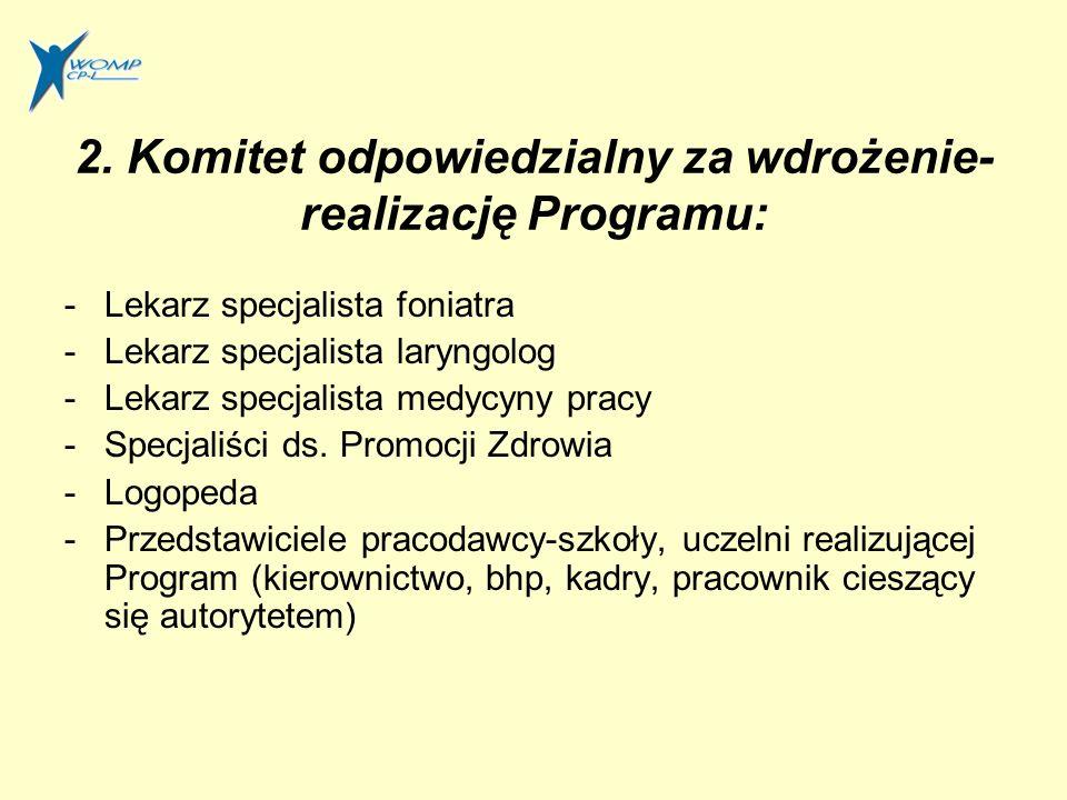 2. Komitet odpowiedzialny za wdrożenie-realizację Programu: