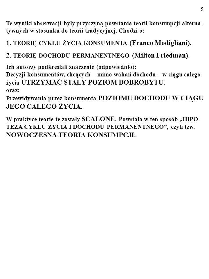 1. TEORIĘ CYKLU ŻYCIA KONSUMENTA (Franco Modigliani).