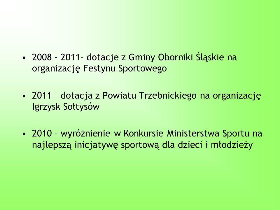 2008 - 2011– dotacje z Gminy Oborniki Śląskie na organizację Festynu Sportowego