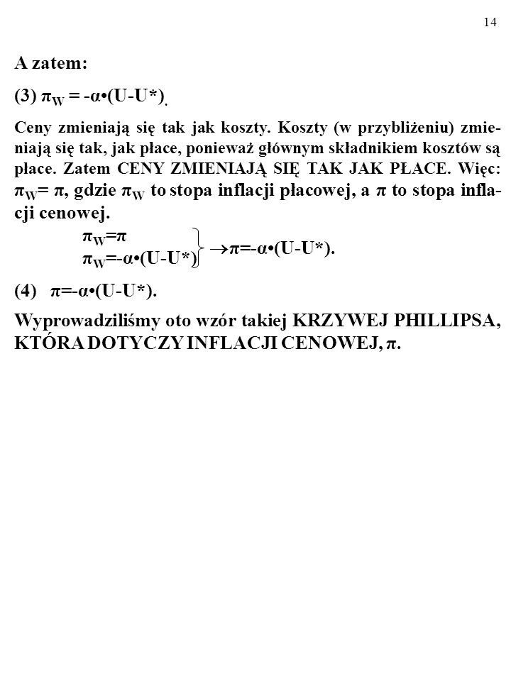 A zatem: (3) πW = -α•(U-U*). πW=π πW=-α•(U-U*) (4) π=-α•(U-U*).