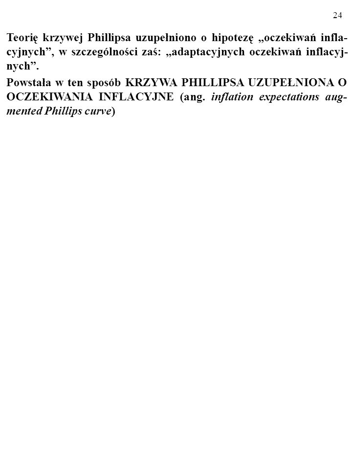 """Teorię krzywej Phillipsa uzupełniono o hipotezę """"oczekiwań infla-cyjnych , w szczególności zaś: """"adaptacyjnych oczekiwań inflacyj-nych ."""