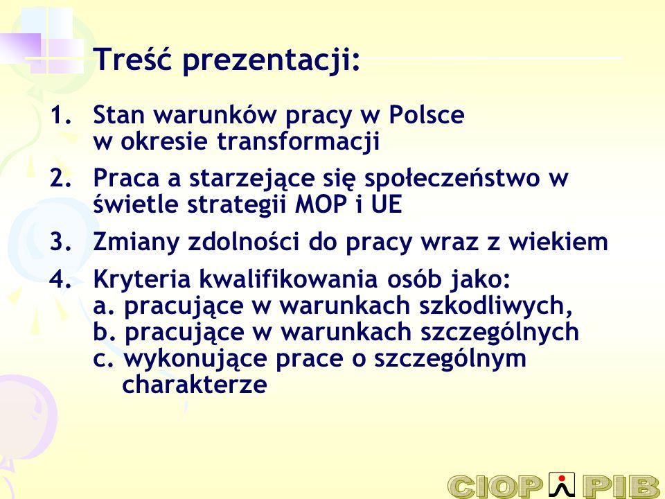 Treść prezentacji: Stan warunków pracy w Polsce w okresie transformacji. Praca a starzejące się społeczeństwo w świetle strategii MOP i UE.