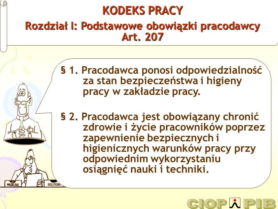 Rozdział I: Podstawowe obowiązki pracodawcy Art. 207
