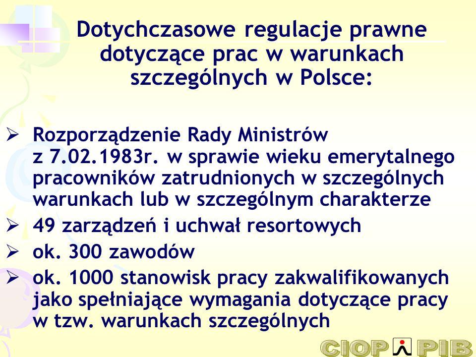 Dotychczasowe regulacje prawne dotyczące prac w warunkach szczególnych w Polsce: