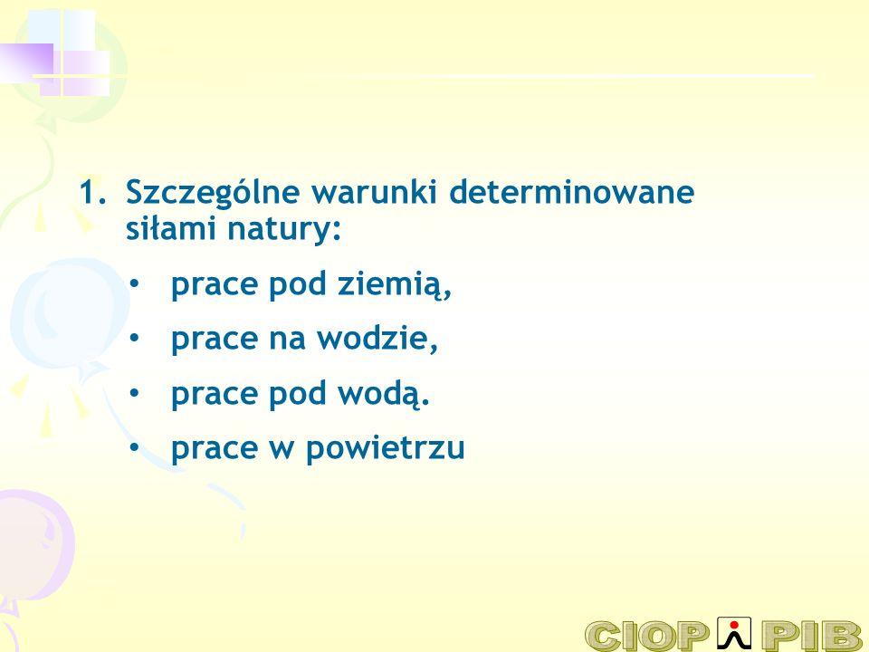 Szczególne warunki determinowane siłami natury: