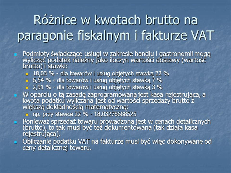 Różnice w kwotach brutto na paragonie fiskalnym i fakturze VAT