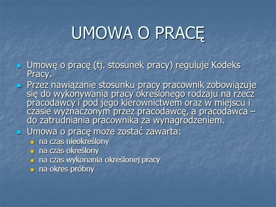 UMOWA O PRACĘ Umowę o pracę (tj. stosunek pracy) reguluje Kodeks Pracy.