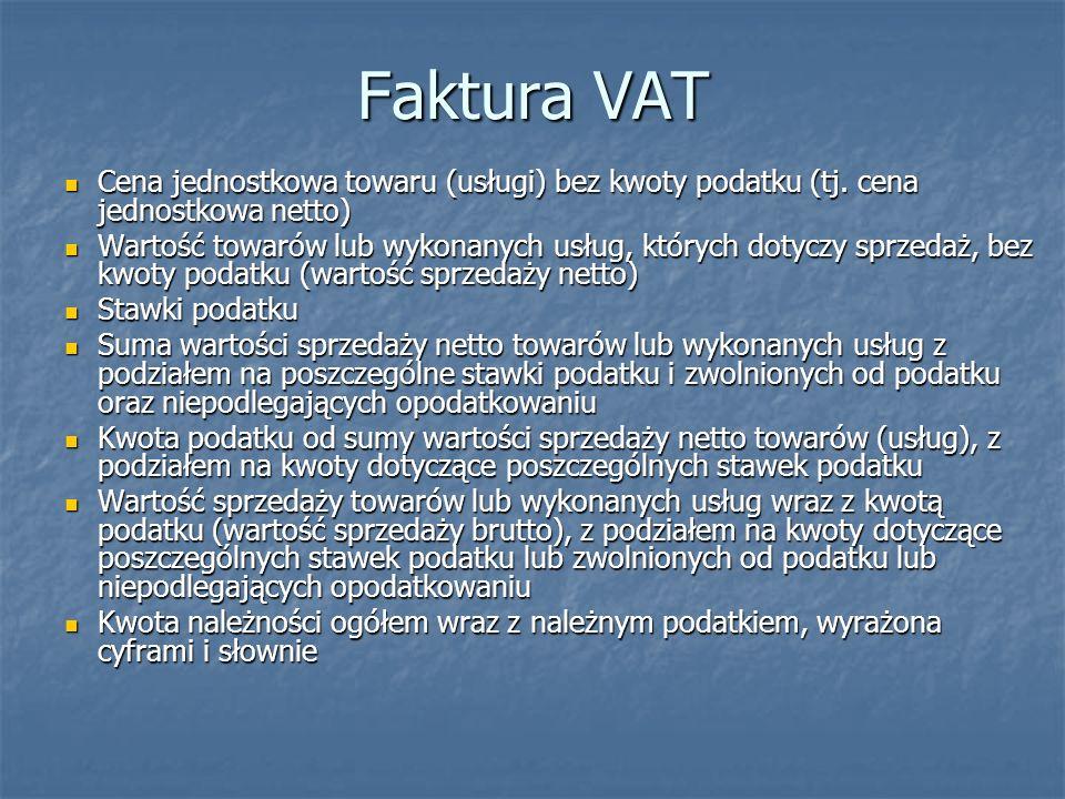 Faktura VAT Cena jednostkowa towaru (usługi) bez kwoty podatku (tj. cena jednostkowa netto)