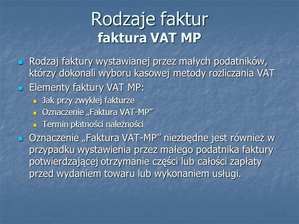 Rodzaje faktur faktura VAT MP