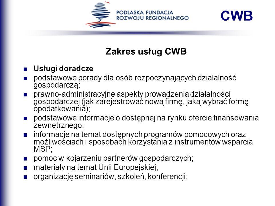 CWB Zakres usług CWB Usługi doradcze