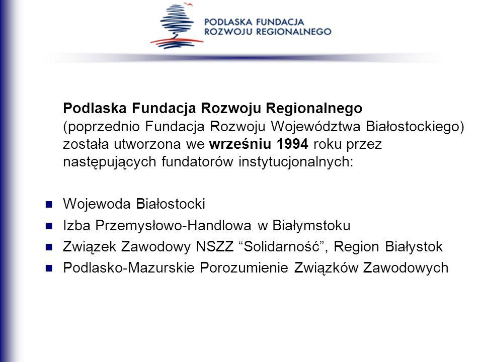 Podlaska Fundacja Rozwoju Regionalnego (poprzednio Fundacja Rozwoju Województwa Białostockiego) została utworzona we wrześniu 1994 roku przez następujących fundatorów instytucjonalnych:
