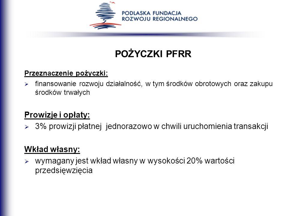 POŻYCZKI PFRR Prowizje i opłaty: