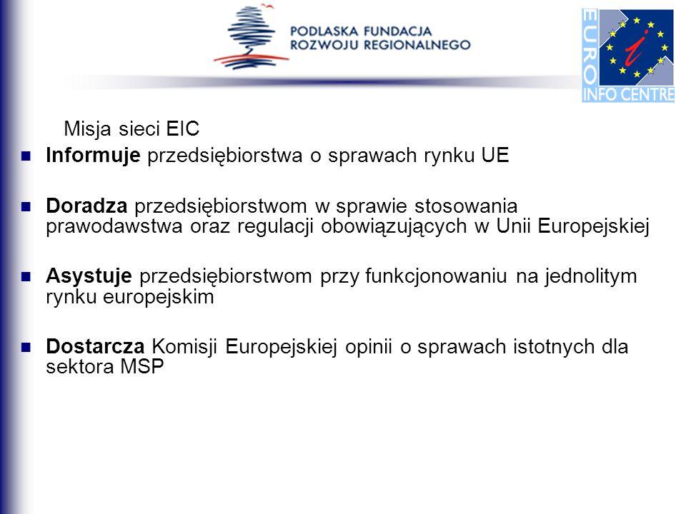 Misja sieci EIC Informuje przedsiębiorstwa o sprawach rynku UE.