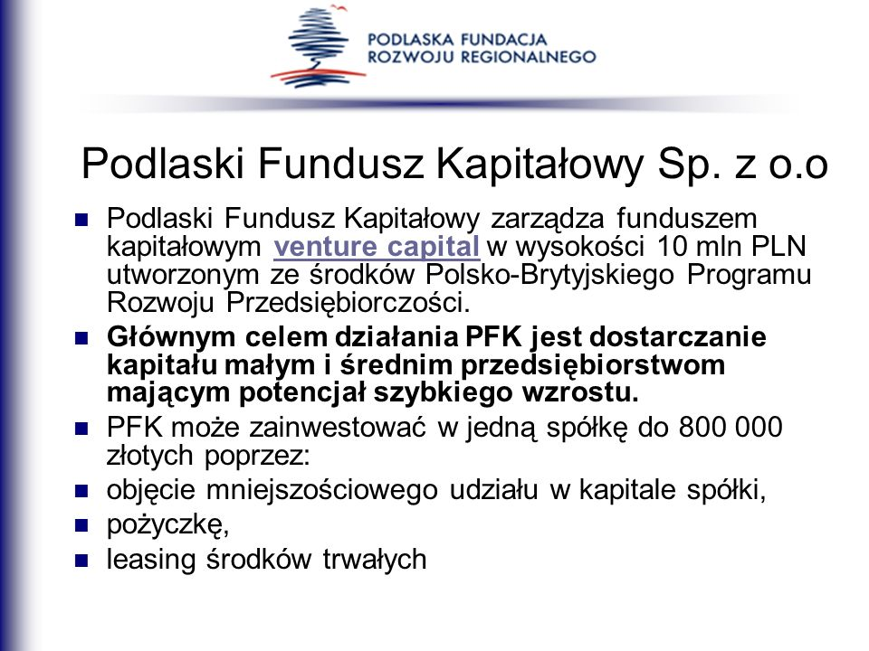 Podlaski Fundusz Kapitałowy Sp. z o.o