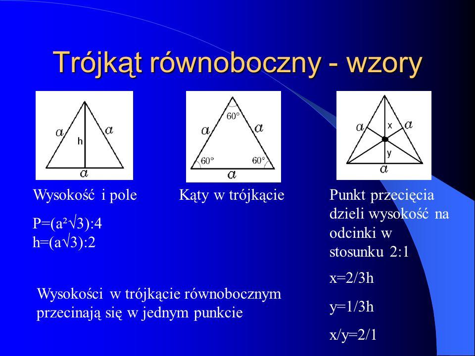 Trójkąt równoboczny - wzory