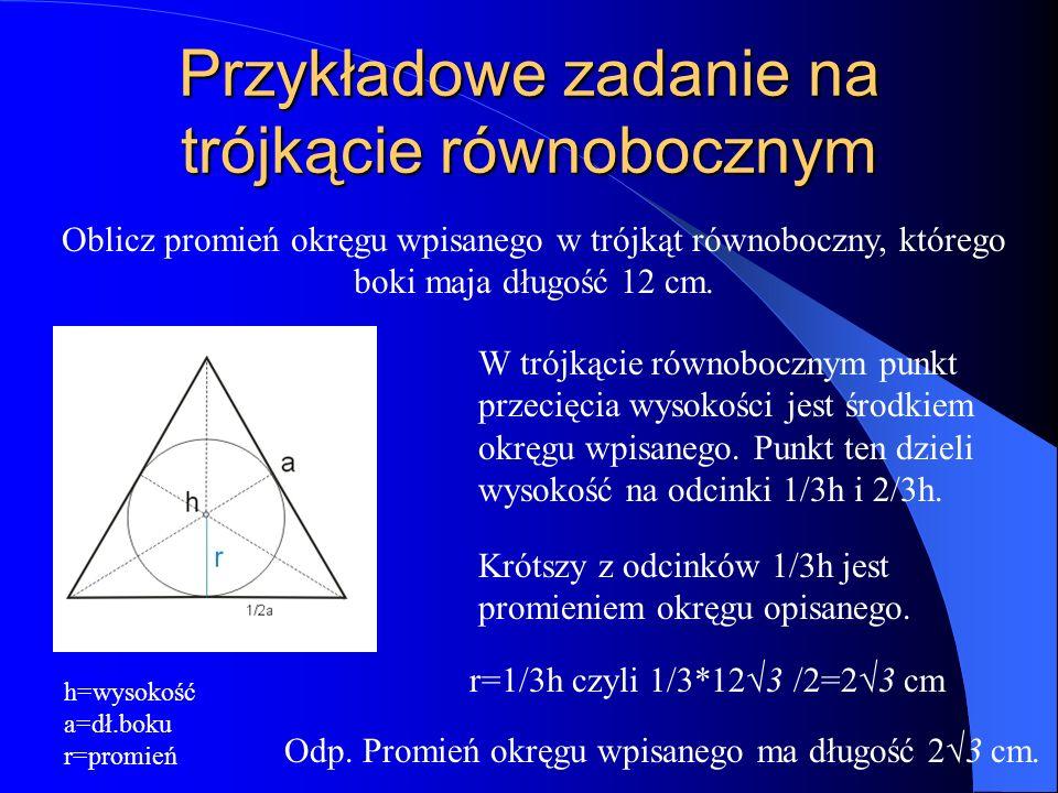 Przykładowe zadanie na trójkącie równobocznym