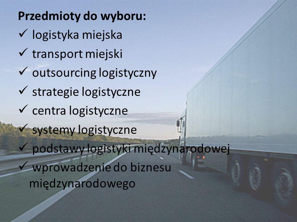 Przedmioty do wyboru: logistyka miejska. transport miejski. outsourcing logistyczny. strategie logistyczne.