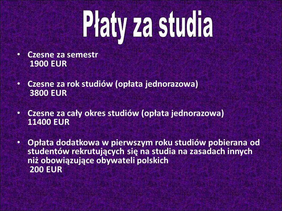 Płaty za studia Czesne za semestr 1900 EUR