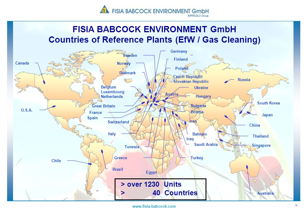 FISIA BABCOCK ENVIRONMENT GmbH Countries of Reference Plants (EfW / Gas Cleaning)